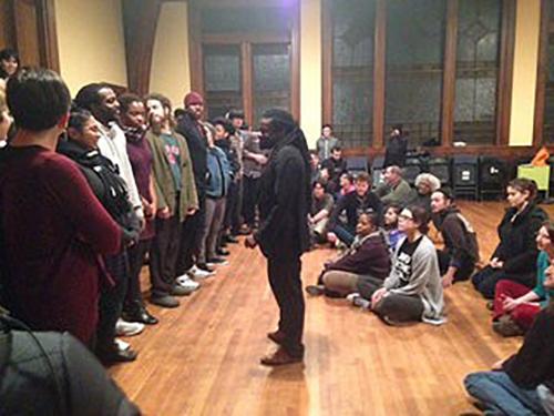 Photo of Rev Sekou training young adults