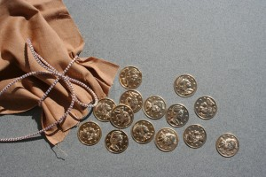 bag with roman coins