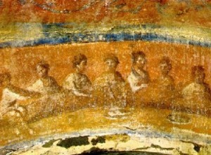painting of fractio panis from Roman catacombs