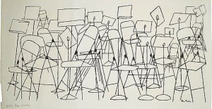 lithograph of empty folding chairs and music stands
