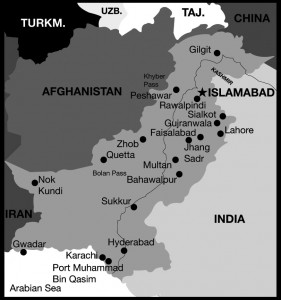 Map of Pakistan by Carly Murray, Dalhousie University MedIT Computing + Media Services, 2009.