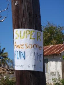 Exuma Sign Reading Super Awesome Fun Time