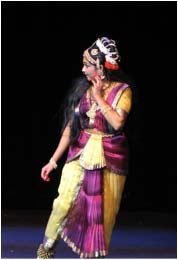 Sasikala Penumarthi, director and choreographer of theSwapna Vijayam ballet, enacting the lead role of Swapna.