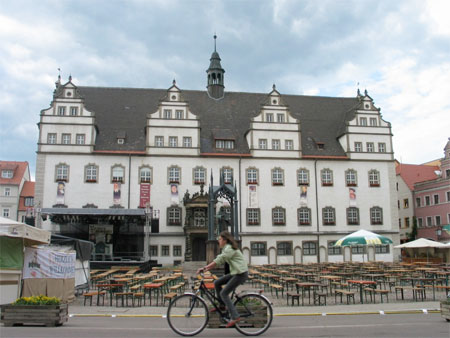 Wittenberg's Marktplatz, decked-out for the Luther's Wedding festival. Photo by author.