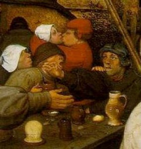 "Detail from Breugel's ""Peasant Dance."""