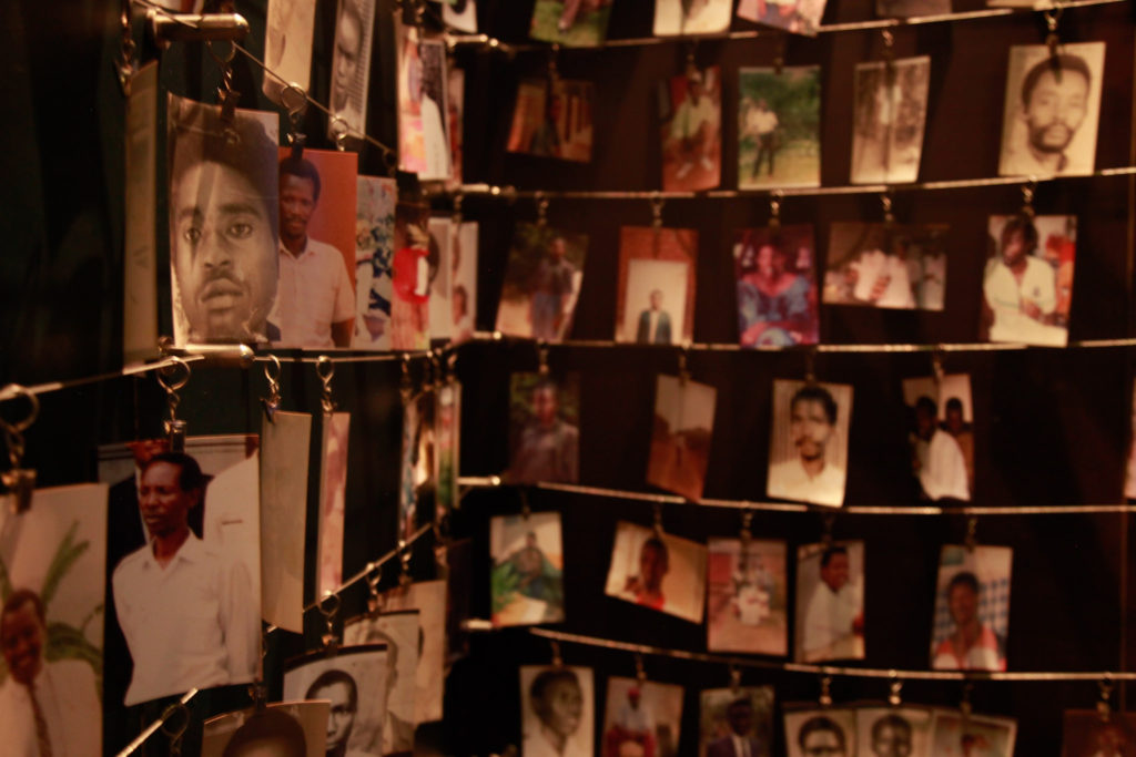 Photograph of photo wall at the Kagali Genocide Memorial Centre.