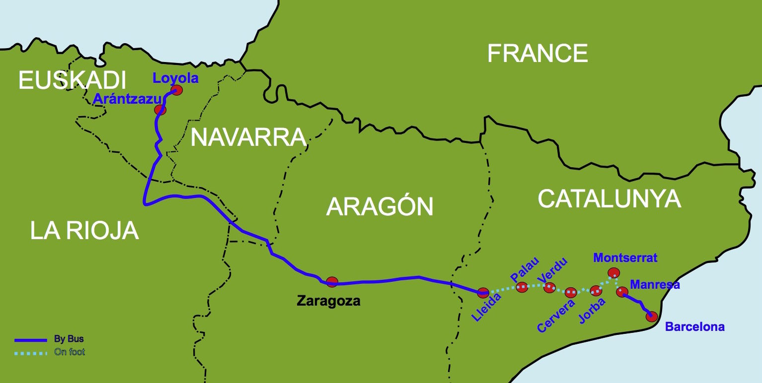 map detailing the route of the pilgrims from Loyola to Barcelona
