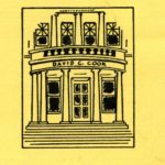 Black and white drawn logo featuring the front facade of the David C. Cook administrative building, showing its columns, steps, and windows