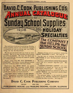 """A scan of the catalog cover featuring black and white text, with """"Annual Catalogue"""" in red and an aerial image of the factory."""