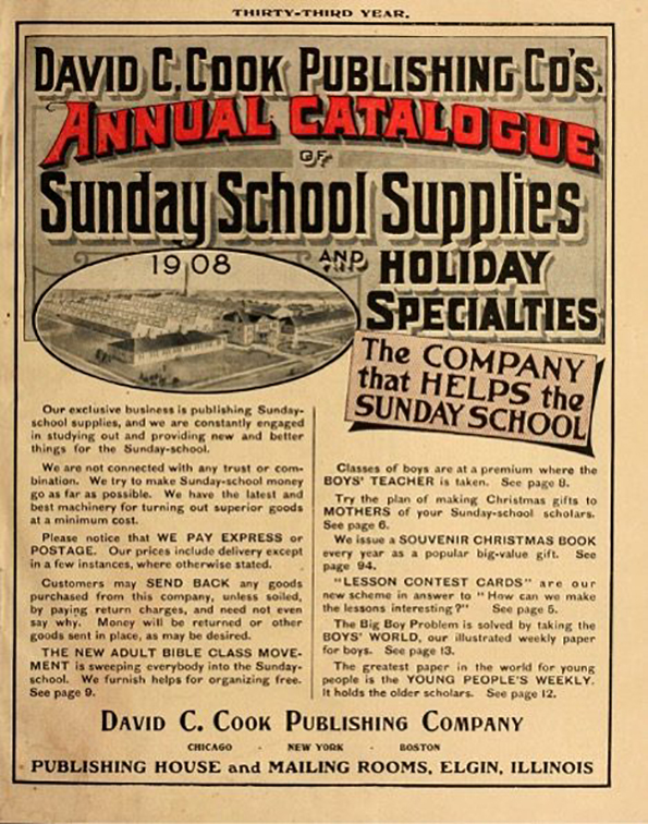 "A scan of the catalog cover featuring black and white text, with ""Annual Catalogue"" in red and an aerial image of the factory."