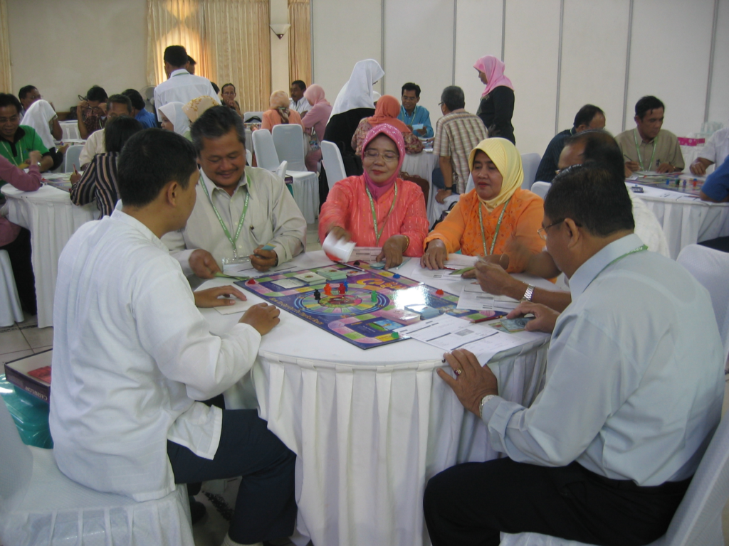 People playing a board game