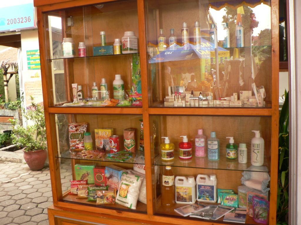 Display case of toiletries.