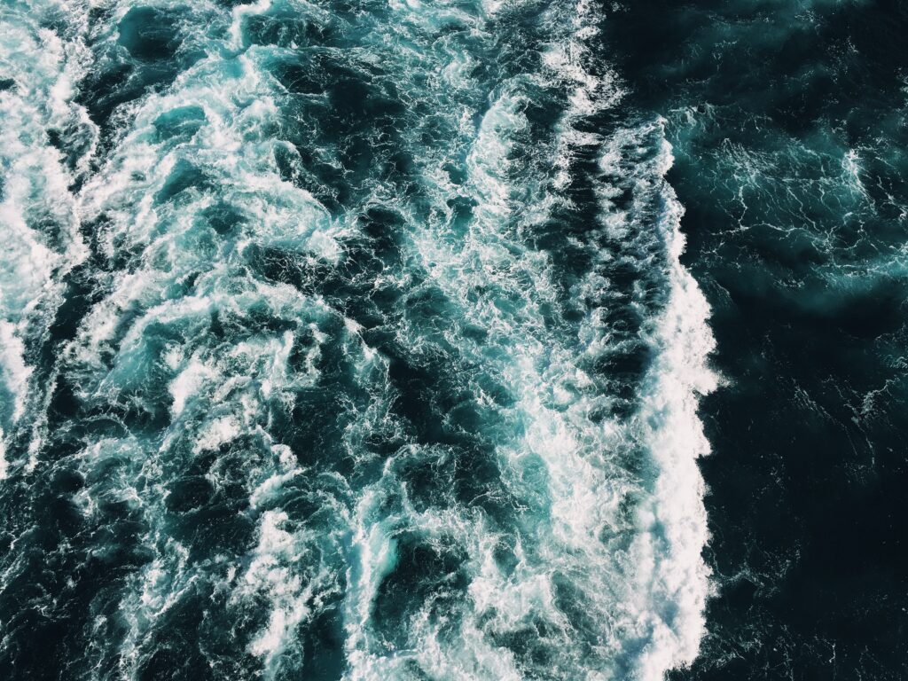 Aerial view of ocean waves