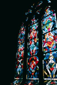 An abstract stained glass window
