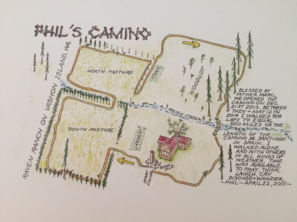 Colored-pencil sketch of bird's eye view of Phil's Camino
